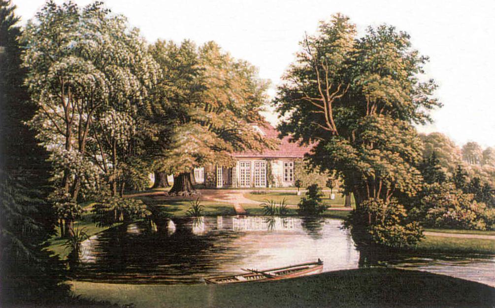 Blick über den Teich zum Haus, um 1850, v. Gall