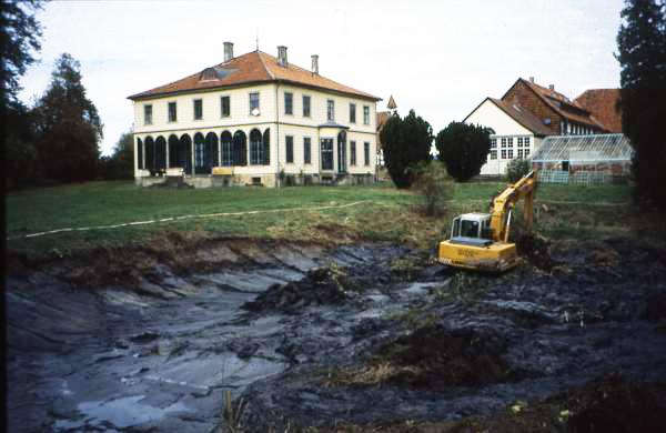 Walshausen Baggerarbeiten im Teich